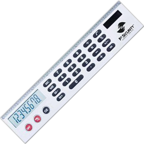 Silver calculator ruler with jumbo LCD display