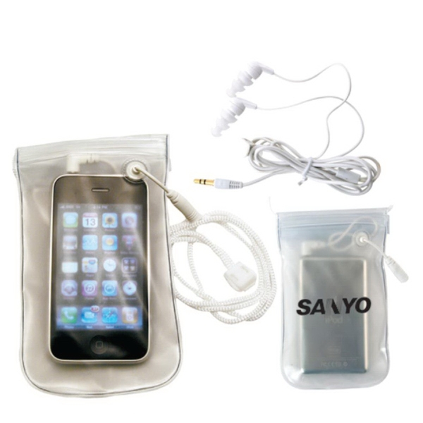 MP3 waterproof case with water-resistant earbuds