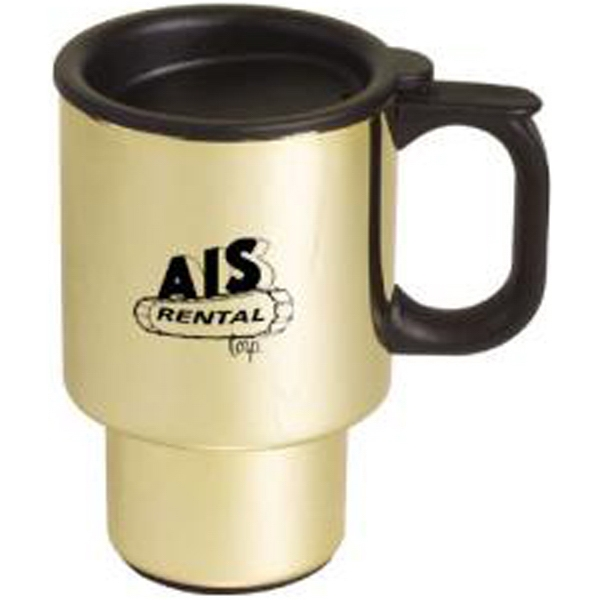 Gold-plated stainless steel commuter mug