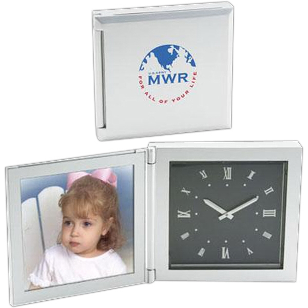 "Die-cast aluminum 3 1/2"" x 3 1/2"" photo frame clock"