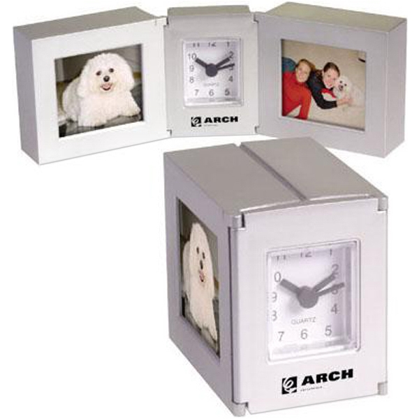 Folding cube clock with dual photo frames