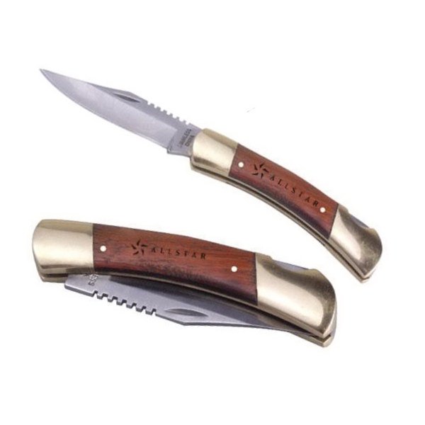 Brass and rosewood pocket knife with locking blade