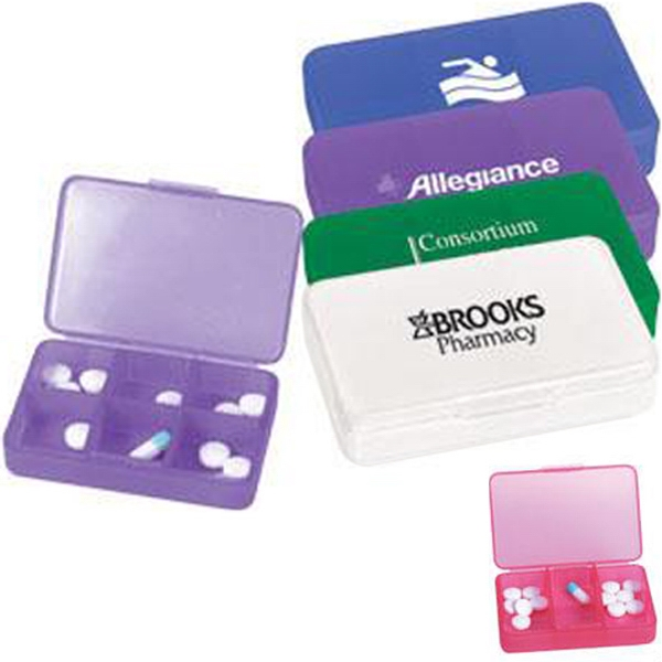 Plastic pill case with six compartments