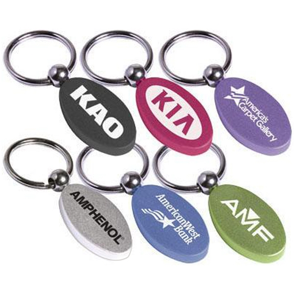 Solid aluminum oval key ring