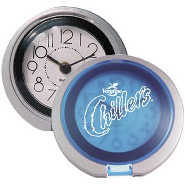 Flip-open travel alarm clock with translucent lid