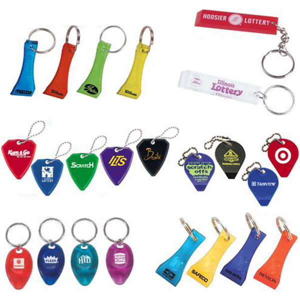Lottery ticket scraper key ring
