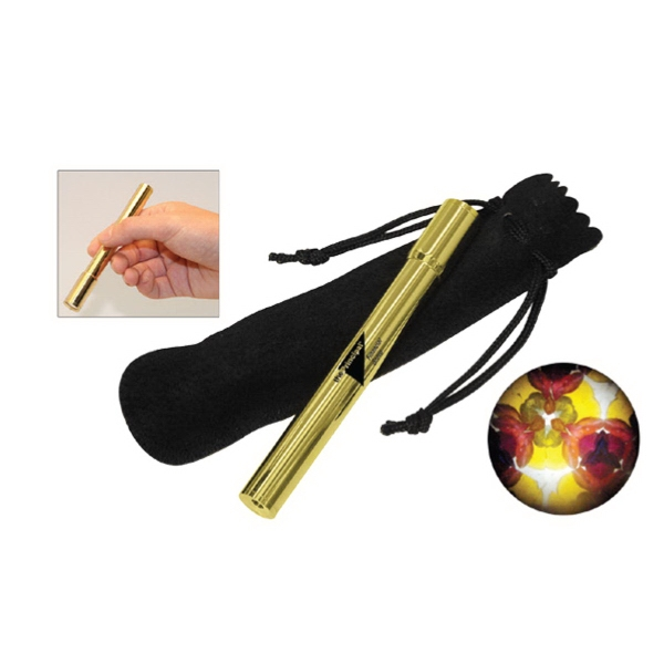 Solid brass pocket kaleidoscope with velvet pouch