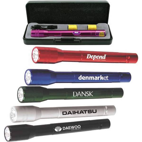 Anodized aluminum LED flashlight gift set
