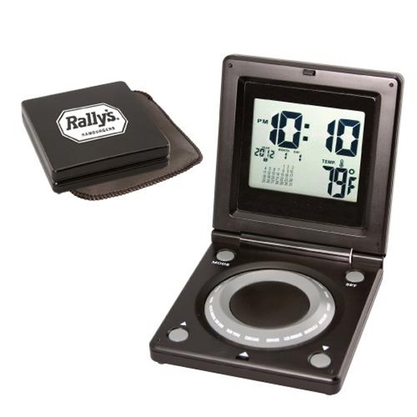 World time alarm clock with calendar and thermometer