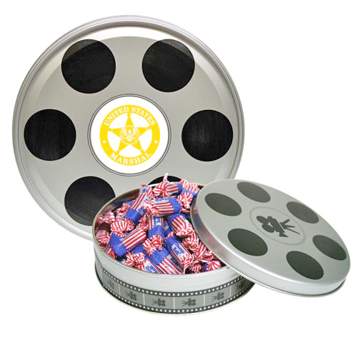 Small Movie Reel Tin Box with Hard Candy