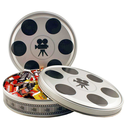 Large Movie Reel Round Tin Box Filled with Cookies
