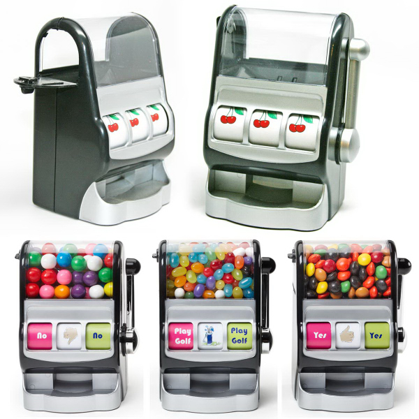 Jackpot Slot Machine Dispenser with Gumballs