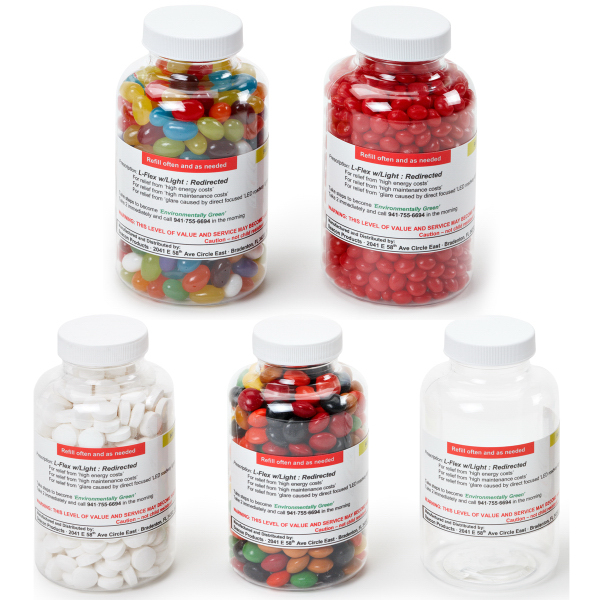 Clear Pill Bottle Large filled with Red Hots