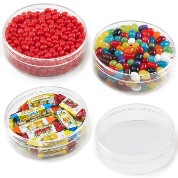 Round Shape Plastic Jar Container with Red Hots