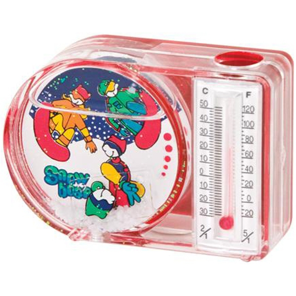 Water-filled magnetic pen holder with thermometer