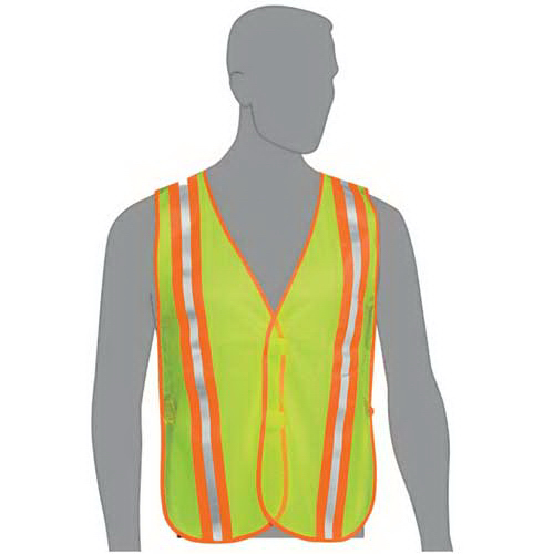 Mesh safety vest with 2-tone stripes
