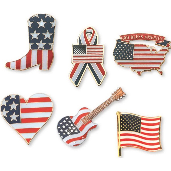 Flag Pin with God Bless America Banner