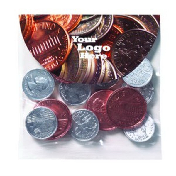 Chocolate Pennies & Quarters Header Bag with Round Top
