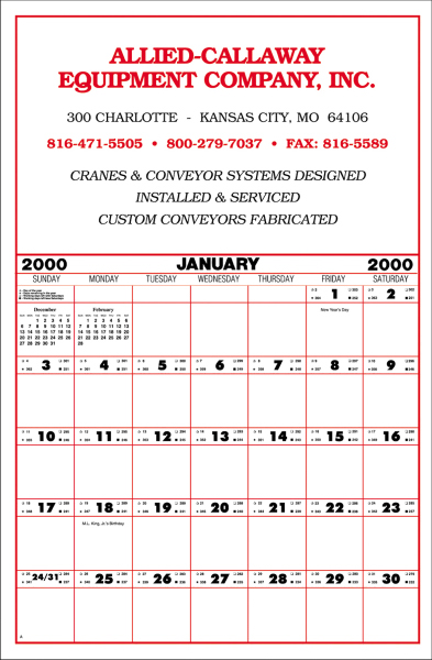Large contractor's commercial wall calendar