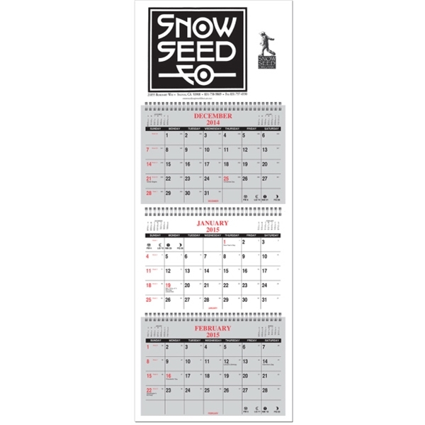 Four panel calendar with 1 Color Imprint