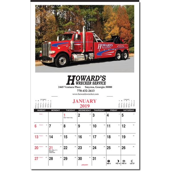 Custom color wall calendar with 1 Custom Picture
