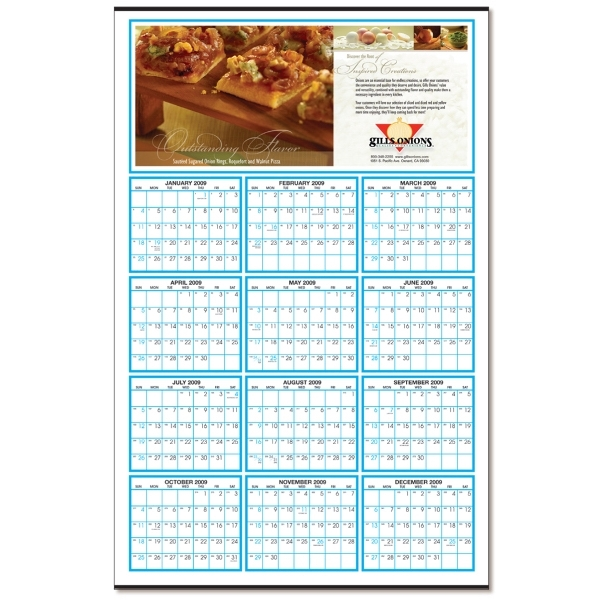 "Year-At-Glance Custom Color Calendar (22"" x 34"")"