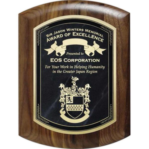 Customized Melrose Walnut Barrel Plaque with Lasered Plate