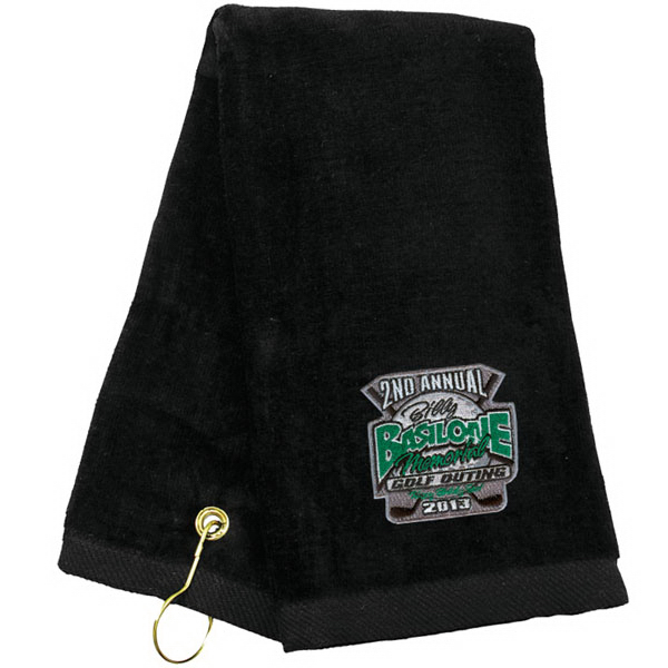 Embroidered tri-fold towel with hook and grommet