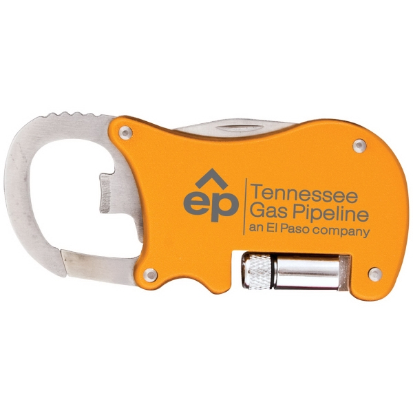 Bottle opener carabiner with flashlight and knife
