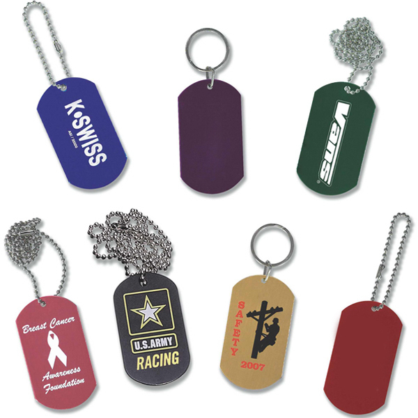 Color Dog Tag With Chain