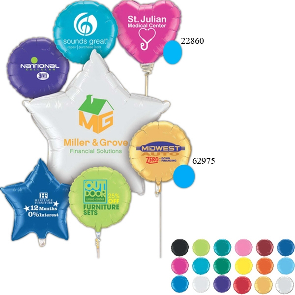 """36"""" Round, Heart or Star Microfoil (R) Balloons"""