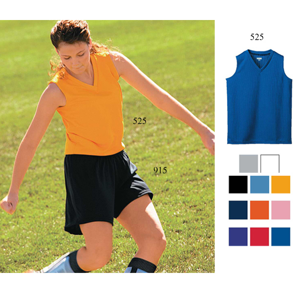 Ladies sleeveless jersey V-neck collar jersey