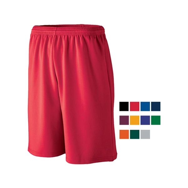Longer length wicking mesh athletic shorts