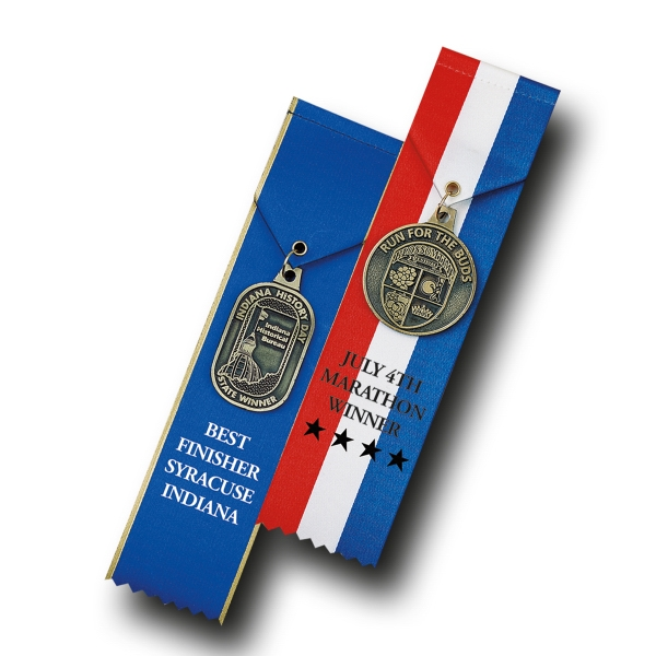 Custom medallion holding ribbon overlay
