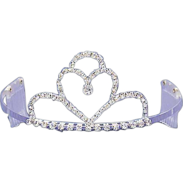 Rhinestone tiara with heart shaped center piece