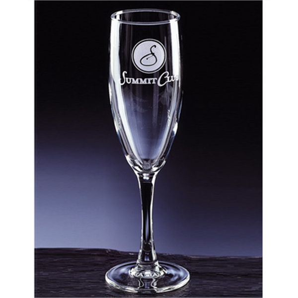 Set of four stemmed Park Avenue flute glasses.