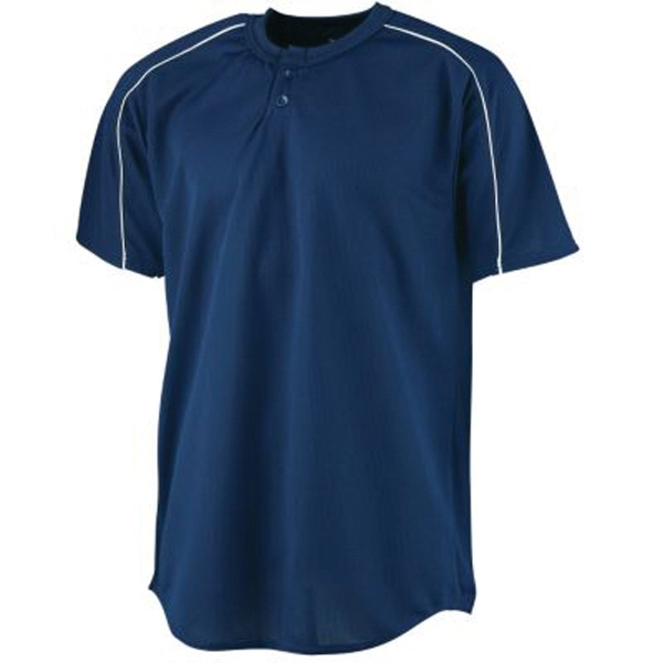 Wicking two button front baseball jersey