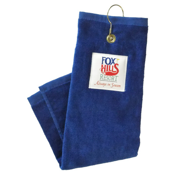 Golf towel with hook and grommet