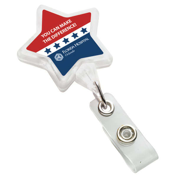 Star Badge Holder with Bulldog Clip / full color N-Dome (tm)