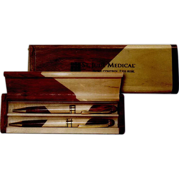 Rosewood and Maple Pen, Pencil and Case Set