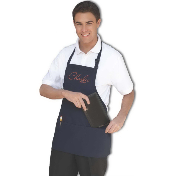 Adjustable Bib Three-Pocket Wide Apron