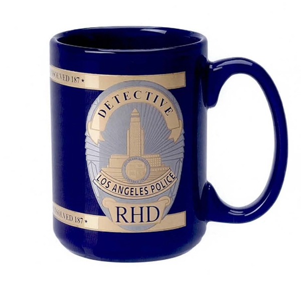 15 oz. Cobalt Blue El Grande Mug with Two Tone Gold