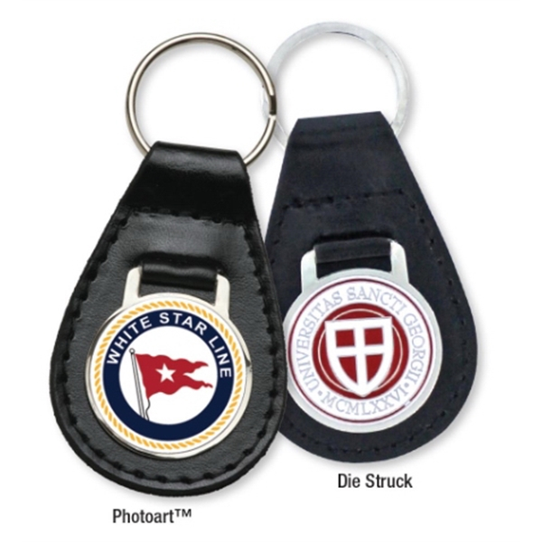 Leather Key Ring with Die Struck Insert