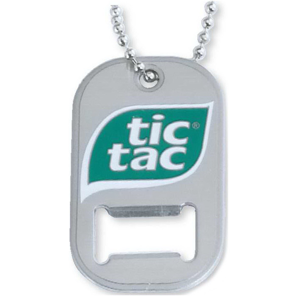 Etched stainless steel bottle opener tag
