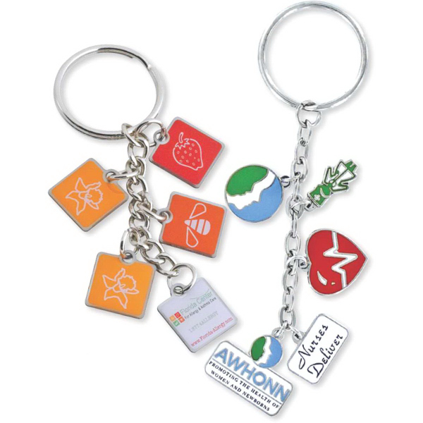 Printed Custom Dangle Charm Key Ring