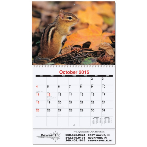 Monthly Wall Calendar - Fauna
