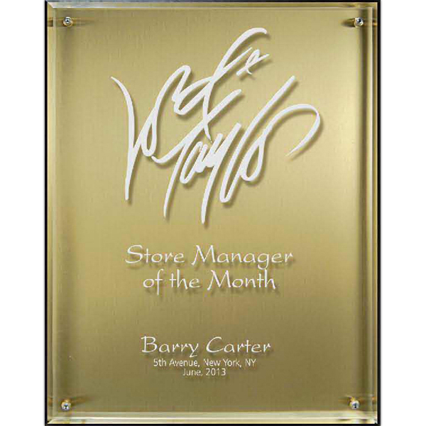 Hi-Tech Lucite Riser Plaque with Wood Backing