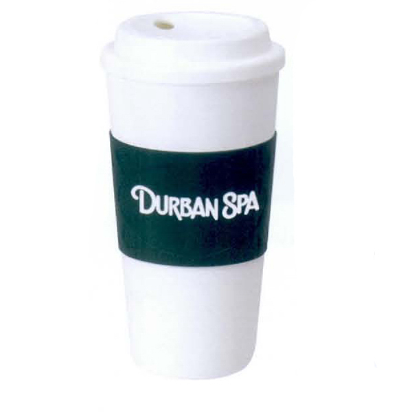16 oz. Plastic Tumbler with Rubber Sleeve