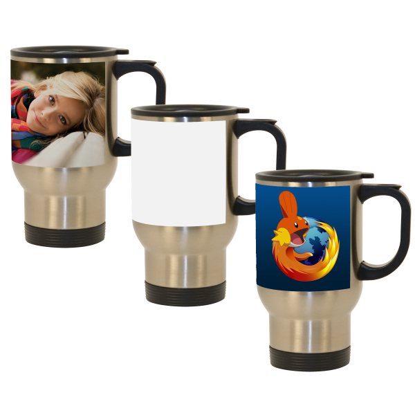 14 oz Stainless Steel Travel Mug w/ White Sublimation Patch