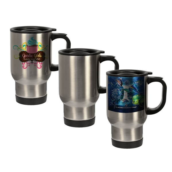 14 oz Stainless Steel Travel Mug (Silver)